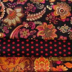 fabric combo black pink paisley 250