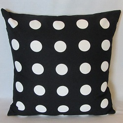 pillow b and w polka