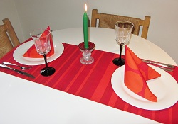 Marimekko table runner-Marimekko,table runner,napkins,pot holders,Christmas,Xmas,seasonal,festive,red,green,cotton,authentic fabric,Finland,Finnish,handmade,Toronto,Ontario,Canada,Canadian,